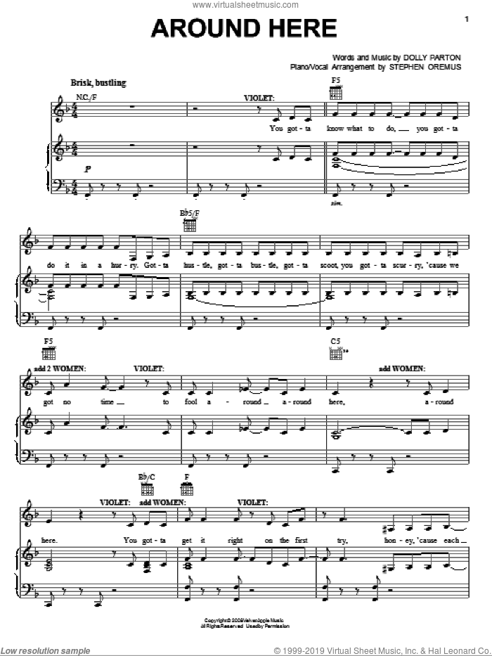 Around Here (from 9 to 5: The Musical) sheet music for voice, piano or guitar by Dolly Parton and 9 To 5 (Musical), intermediate skill level