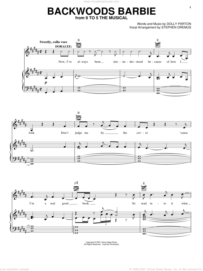 Backwoods Barbie (from 9 to 5: The Musical) sheet music for voice, piano or guitar by Dolly Parton and 9 To 5 (Musical), intermediate skill level