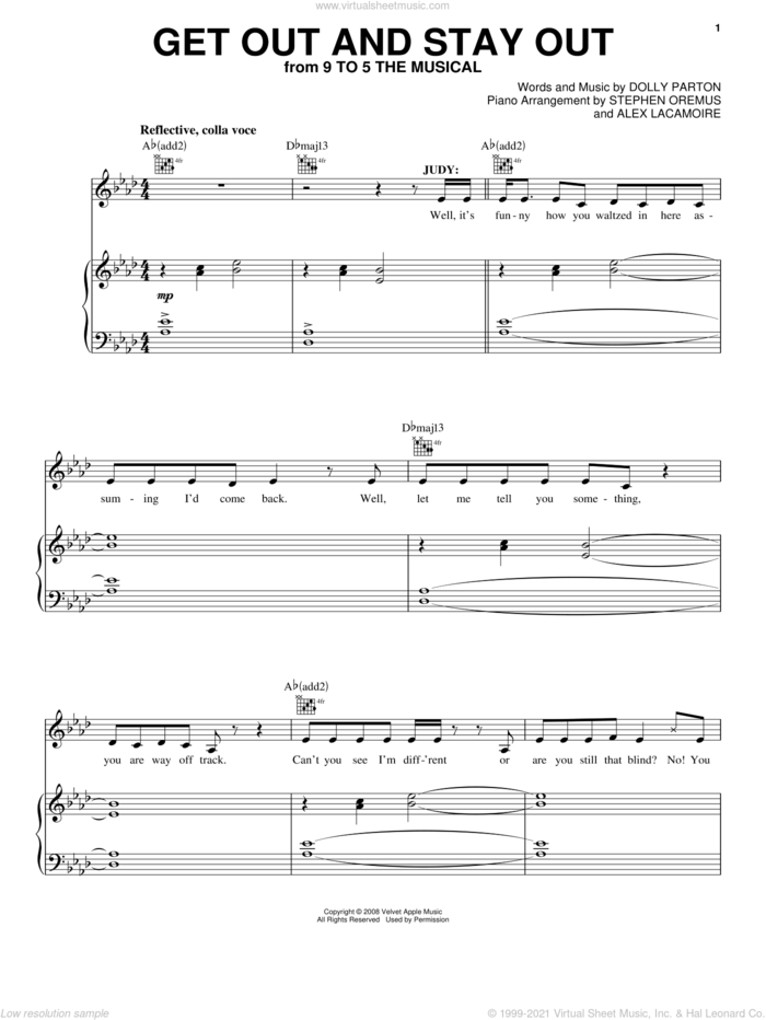 Get Out And Stay Out (from 9 to 5: The Musical) sheet music for voice, piano or guitar by Dolly Parton and 9 To 5 (Musical), intermediate skill level