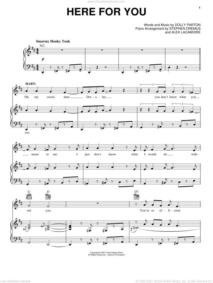 Here For You (from 9 to 5: The Musical) sheet music for voice, piano or guitar by Dolly Parton and 9 To 5 (Musical), intermediate skill level