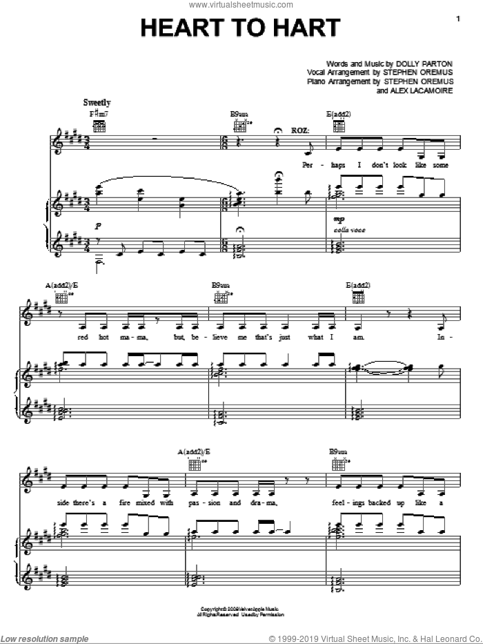 Heart To Hart (from 9 to 5: The Musical) sheet music for voice, piano or guitar by Dolly Parton and 9 To 5 (Musical), intermediate skill level