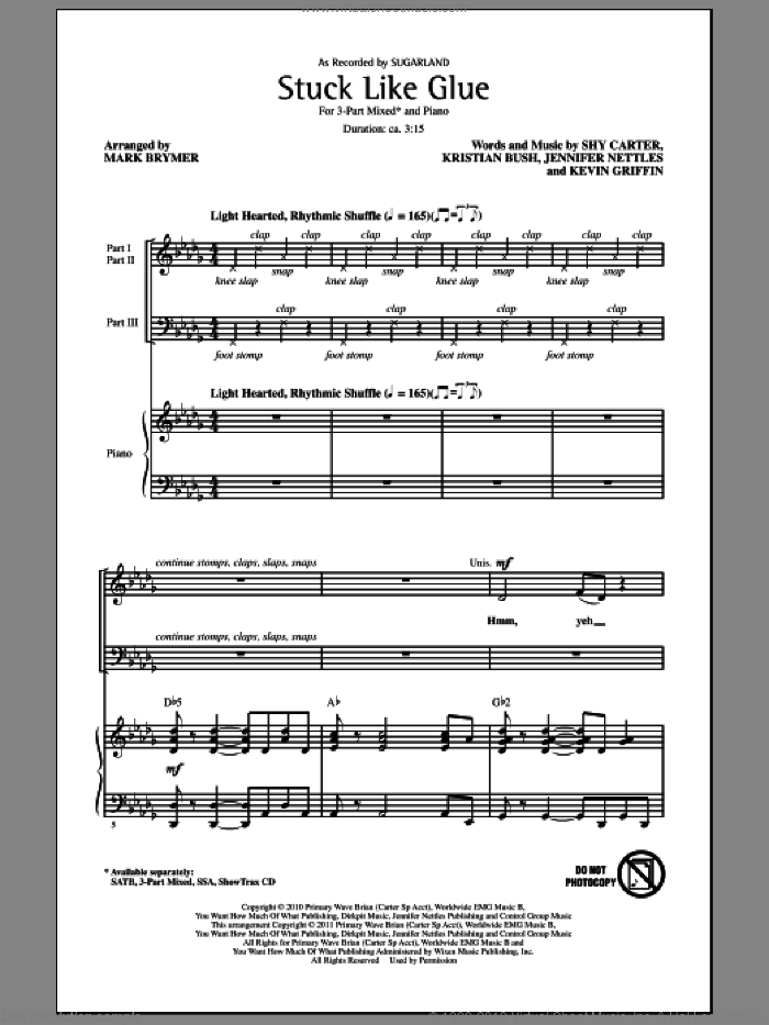 Stuck Like Glue sheet music for choir (3-Part Mixed) by Jennifer Nettles, Kevin Griffin, Kristian Bush, Shy Carter, Mark Brymer and Sugarland, intermediate skill level