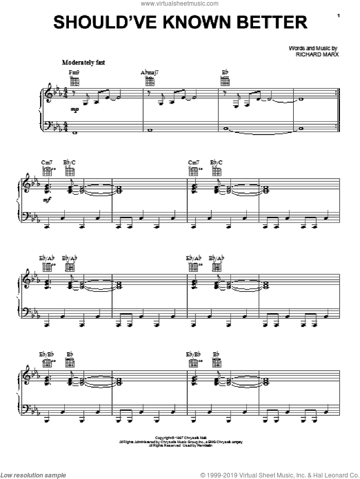 Should've Known Better sheet music for voice, piano or guitar by Richard Marx, intermediate skill level