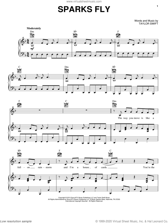 Sparks Fly sheet music for voice, piano or guitar by Taylor Swift, intermediate skill level