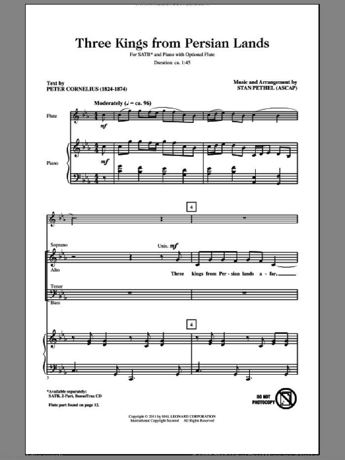 Three Kings From Persian Lands sheet music for choir (SATB: soprano, alto, tenor, bass) by Stan Pethel and Peter Cornelius, intermediate skill level