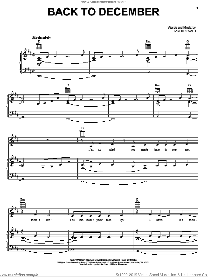 Back To December sheet music for voice, piano or guitar by Taylor Swift, intermediate skill level