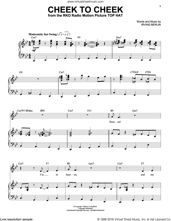 Cheek To Cheek sheet music for voice and piano by Frank Sinatra and Irving Berlin, intermediate skill level