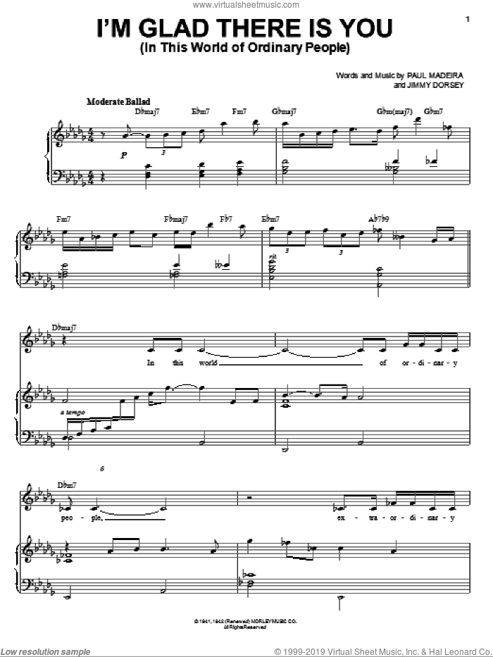 I'm Glad There Is You (In This World Of Ordinary People) sheet music for voice and piano by Frank Sinatra, Jimmy Dorsey and Paul Madeira, intermediate skill level