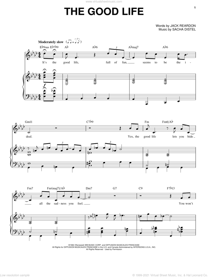 The Good Life sheet music for voice and piano by Frank Sinatra, Jack Reardon, Jean Broussolle and Sacha Distel, intermediate skill level