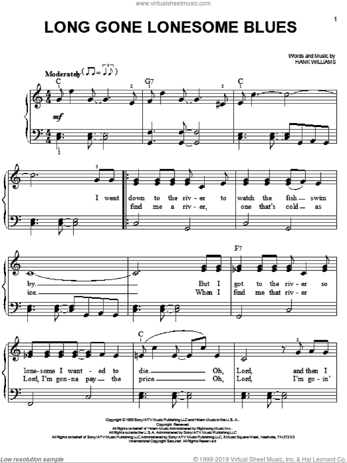 Long Gone Lonesome Blues sheet music for piano solo by Hank Williams, easy skill level