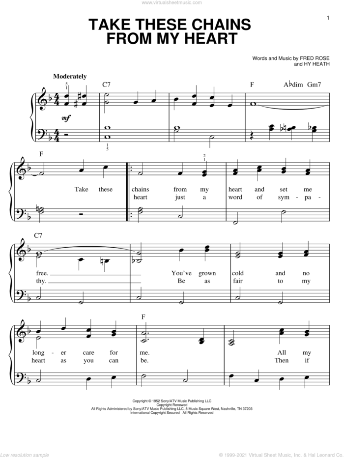 Take These Chains From My Heart sheet music for piano solo by Hank Williams, Fred Rose and Hy Heath, easy skill level