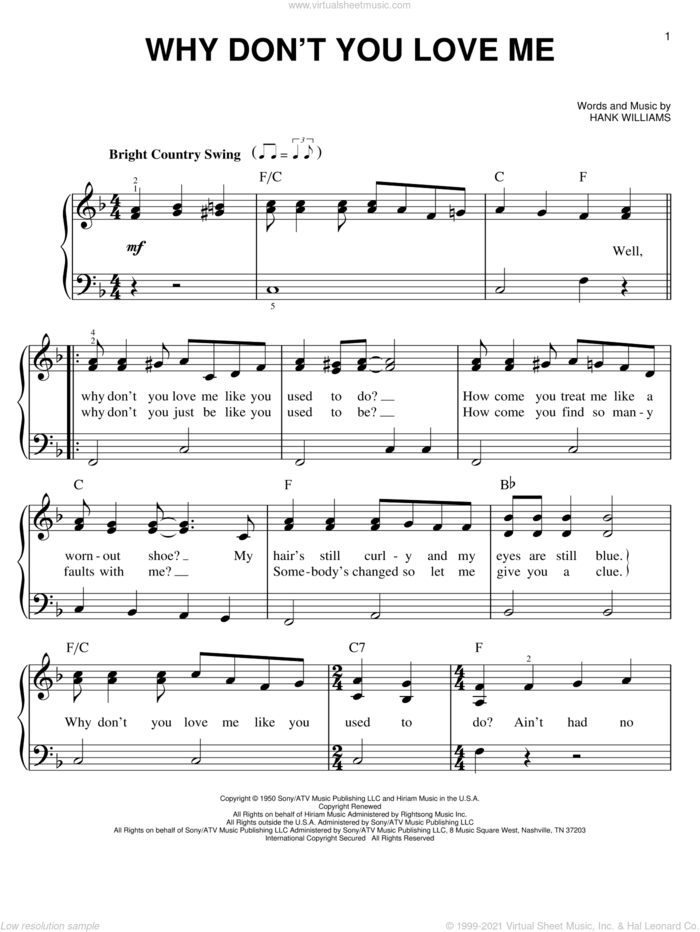 Why Don't You Love Me sheet music for piano solo by Hank Williams, easy skill level