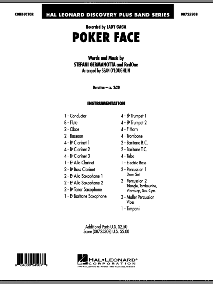 Poker Face (COMPLETE) sheet music for concert band by Lady Gaga and RedOne, intermediate skill level