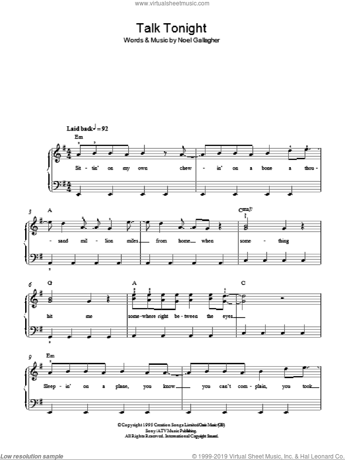Talk Tonight sheet music for piano solo by Oasis and Noel Gallagher, easy skill level