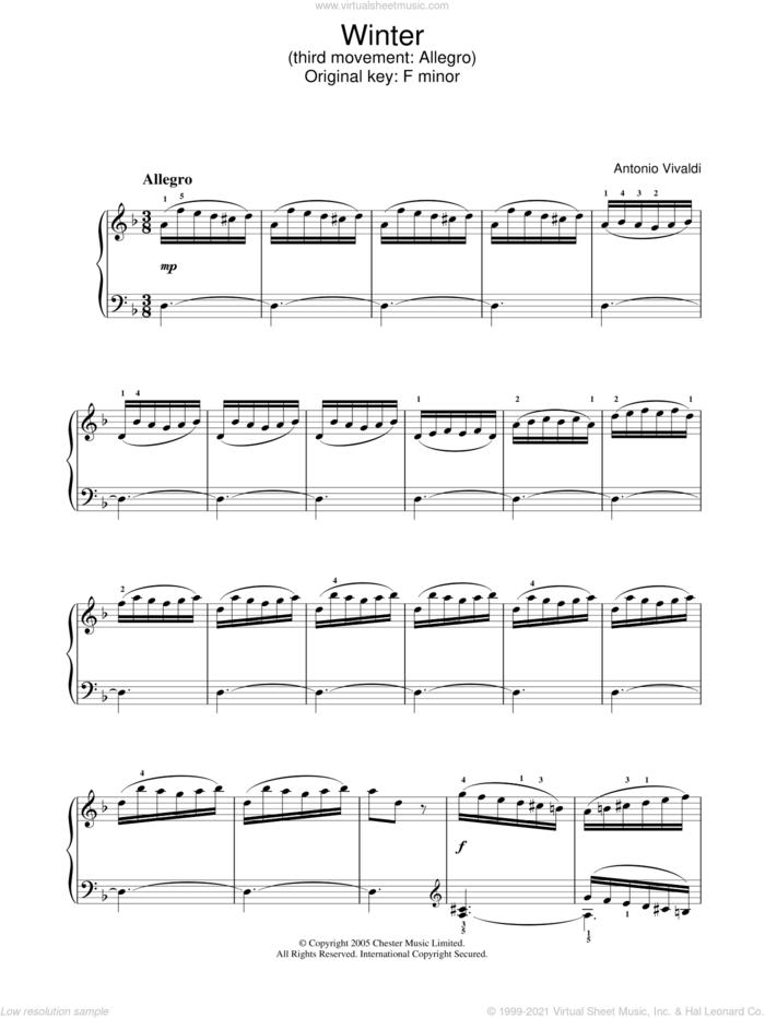 Winter from The Four Seasons (Third movement: Allegro) sheet music for piano solo by Antonio Vivaldi, classical score, intermediate skill level