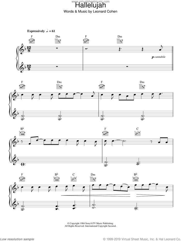 Hallelujah sheet music for piano solo by Alexandra Burke, Jeff Buckley, John Cale, K.D. Lang, Rufus Wainwright and Leonard Cohen, easy skill level
