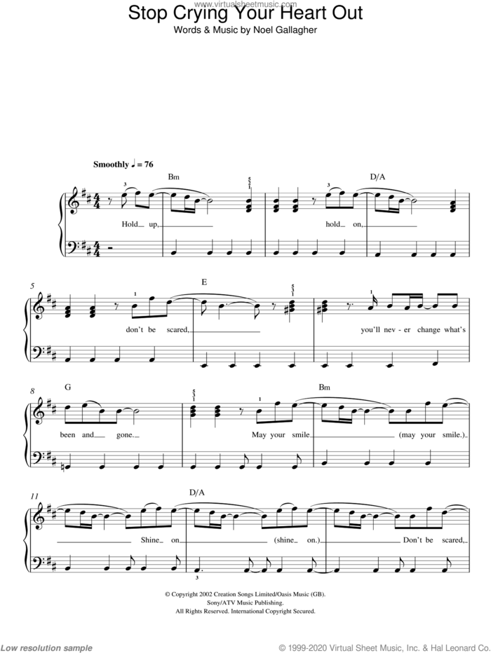 Stop Crying Your Heart Out sheet music for piano solo by Oasis and Noel Gallagher, easy skill level