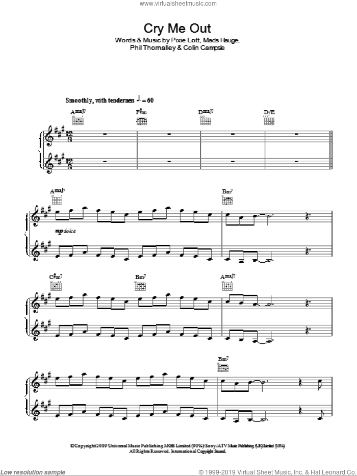 Cry Me Out sheet music for piano solo by Pixie Lott, Colin Campsie, Mads Hauge and Phil Thornalley, easy skill level