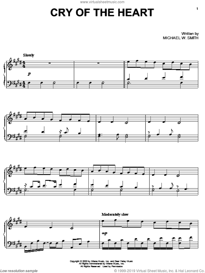 Cry Of The Heart sheet music for piano solo by Michael W. Smith, intermediate skill level