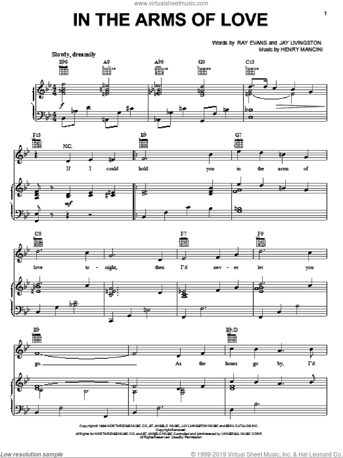 In The Arms Of Love sheet music for voice, piano or guitar by Andy Williams, Henry Mancini, Jay Livingston and Ray Evans, intermediate skill level