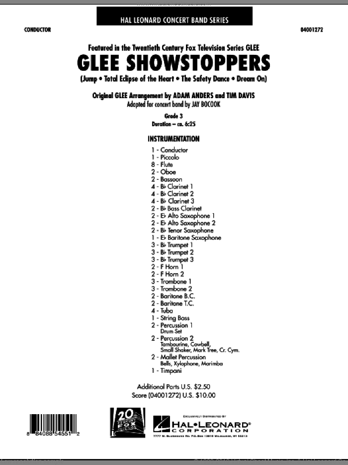 Glee Showstoppers (COMPLETE) sheet music for concert band by Jay Bocook, intermediate skill level