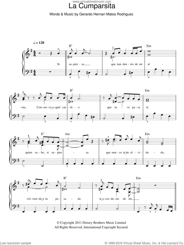 La Cumparsita sheet music for piano solo by Gerardo Hernan Matos Rodriguez, easy skill level