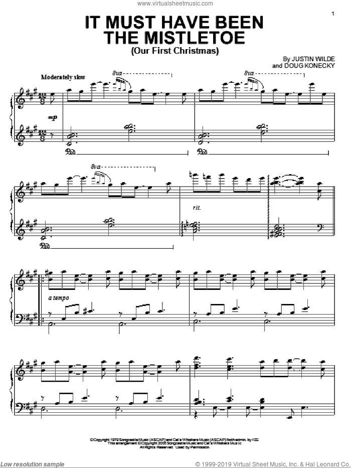 It Must Have Been The Mistletoe (Our First Christmas) sheet music for piano solo by Barbara Mandrell, Doug Konecky and Justin Wilde, intermediate skill level