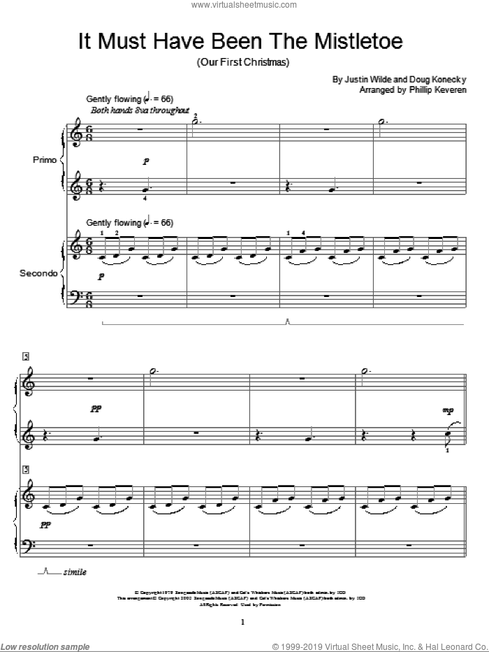 It Must Have Been The Mistletoe (Our First Christmas) sheet music for piano four hands by Barbara Mandrell, Phillip Keveren, Doug Konecky and Justin Wilde, intermediate skill level