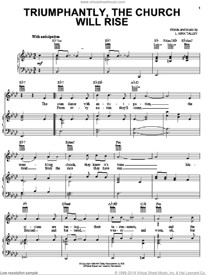 Triumphantly, The Church Will Rise sheet music for voice, piano or guitar by Kirk Talley, intermediate skill level