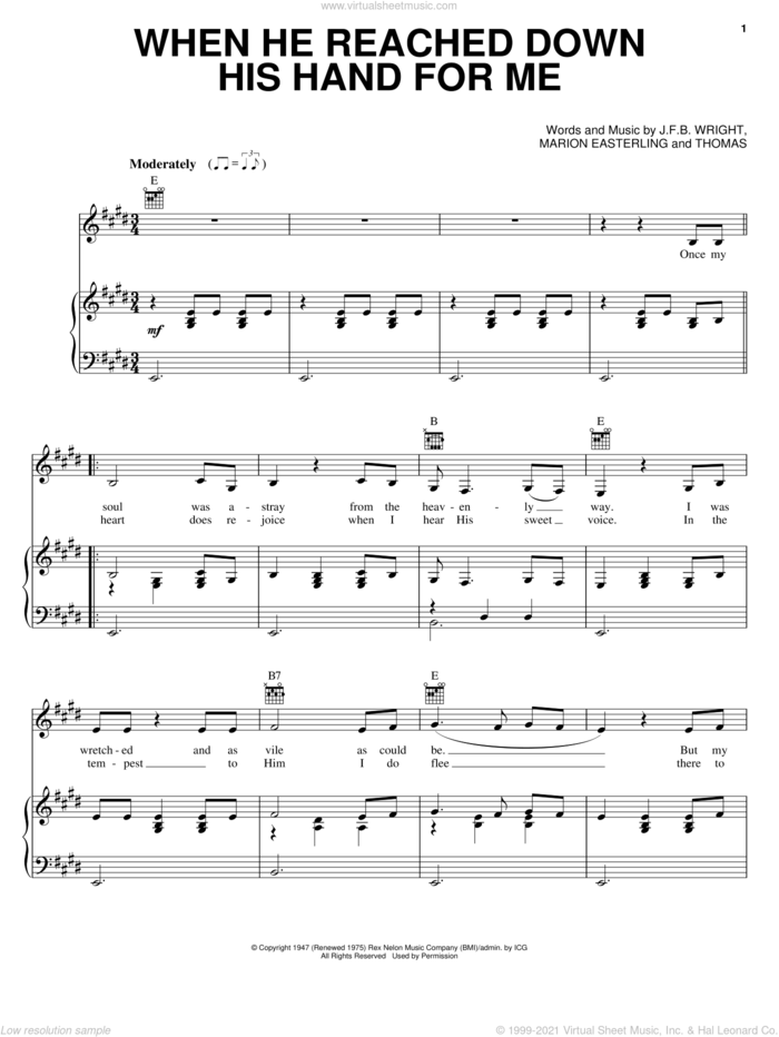 When He Reached Down His Hand For Me sheet music for voice, piano or guitar by Johnny Cash, J.F.B. Wright, Marion Easterling and Thomas, intermediate skill level