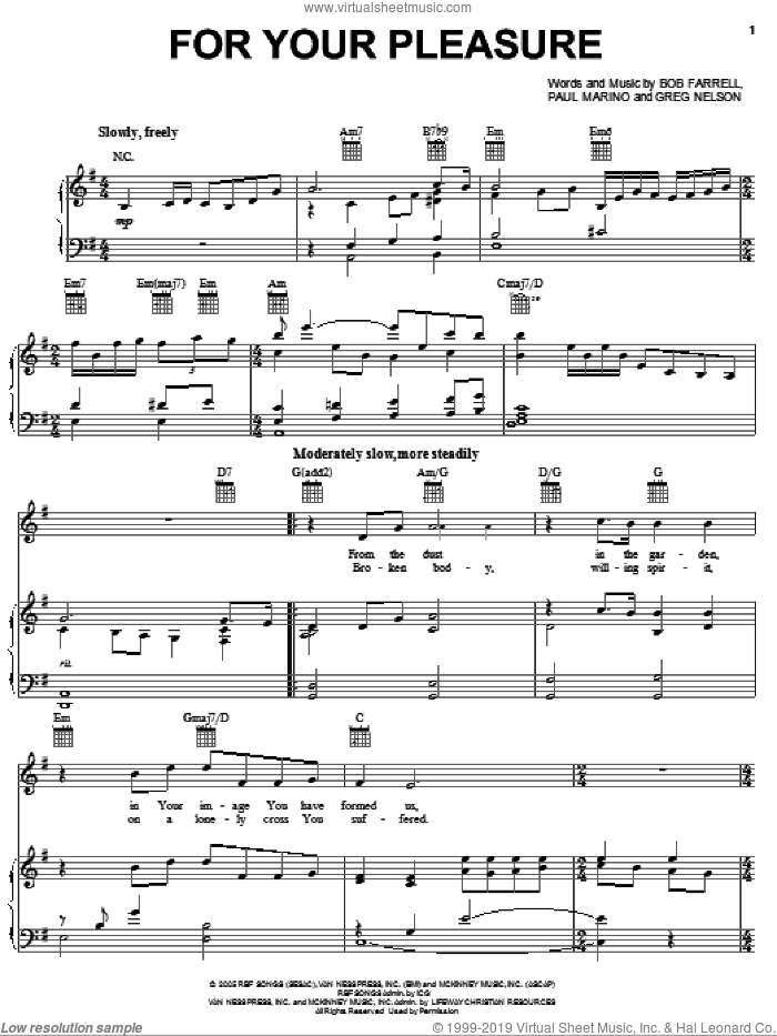 For Your Pleasure sheet music for voice, piano or guitar by Steve Green, Bob Farrell, Greg Nelson and Paul Marino, intermediate skill level