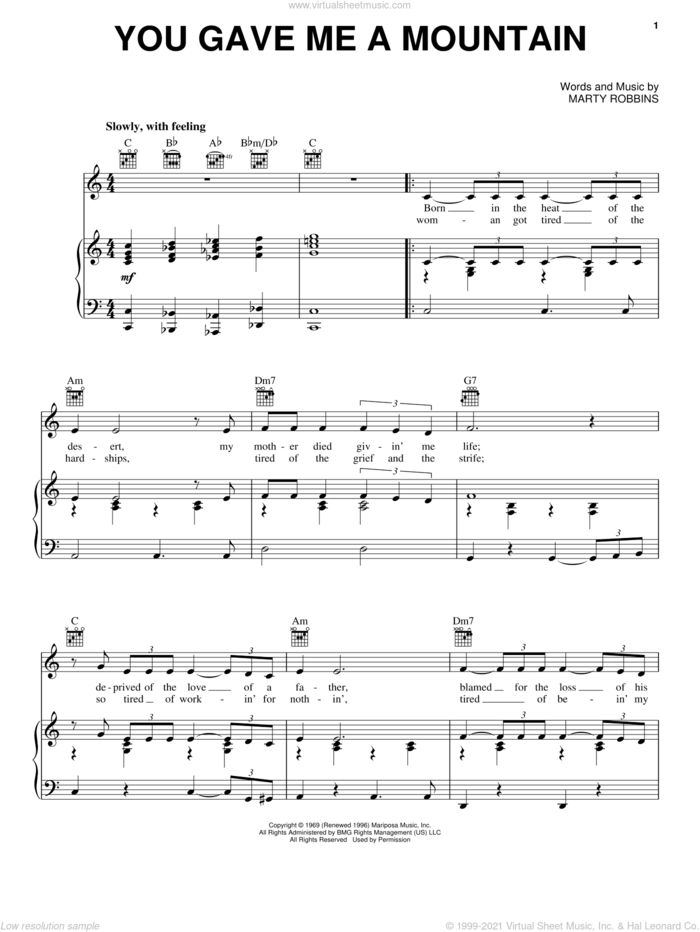 You Gave Me A Mountain sheet music for voice, piano or guitar by Elvis Presley, Johnny Bush and Marty Robbins, intermediate skill level