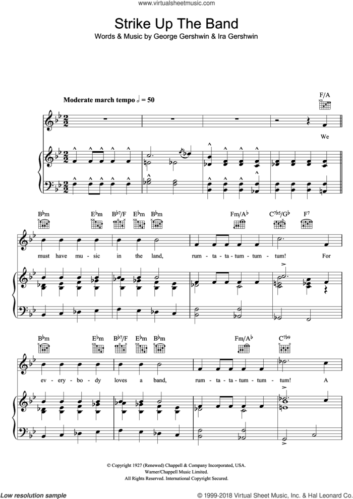 Strike Up The Band sheet music for voice, piano or guitar by George Gershwin and Ira Gershwin, intermediate skill level
