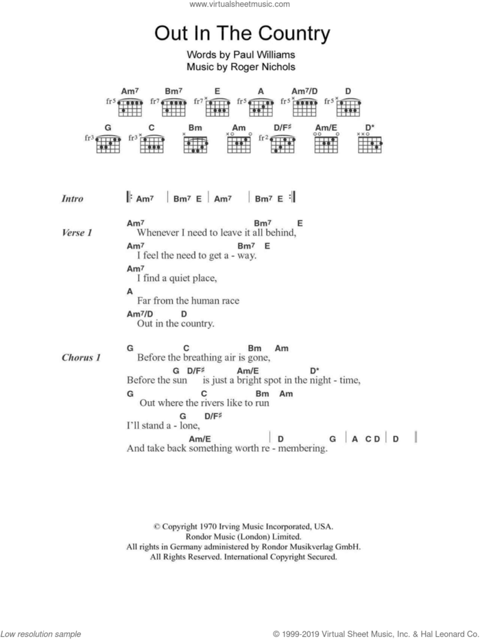 Out In The Country sheet music for guitar (chords) by Three Dog Night, Paul Williams and Roger Nichols, intermediate skill level