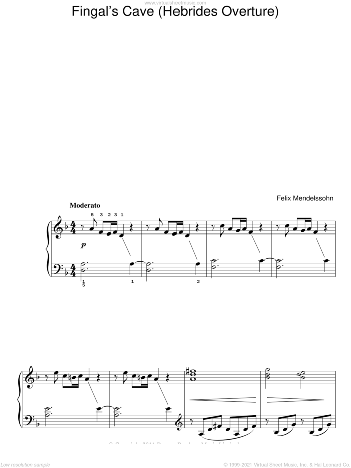 The Hebrides Overture (Fingal's Cave) sheet music for piano solo by Felix Mendelssohn-Bartholdy, classical score, easy skill level