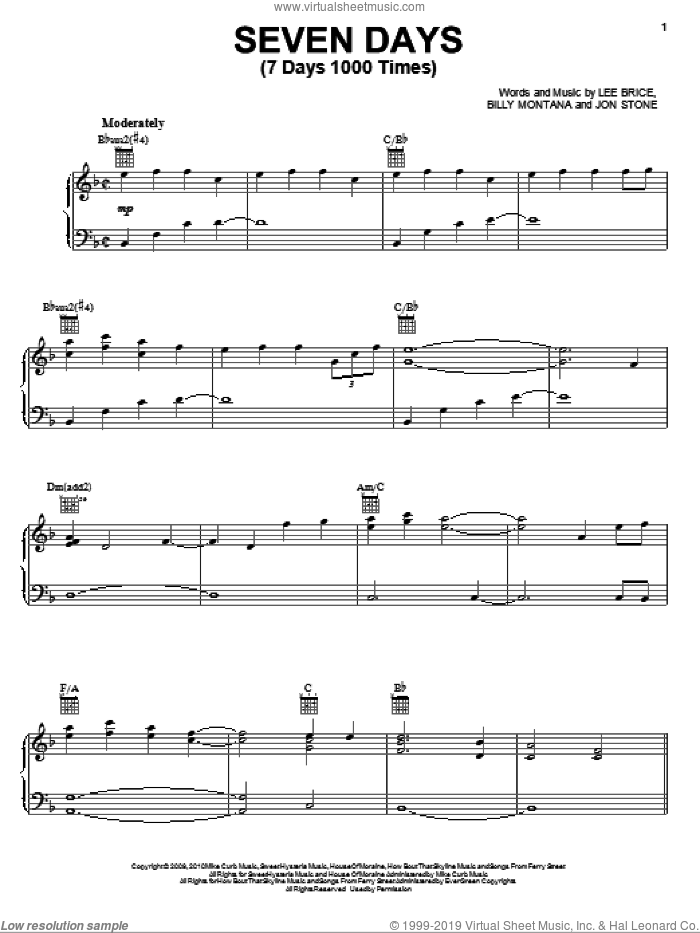 Seven Days (7 Days 1000 Times) sheet music for voice, piano or guitar by Kenny Chesney, Billy Montana, Jon Stone and Lee Brice, intermediate skill level
