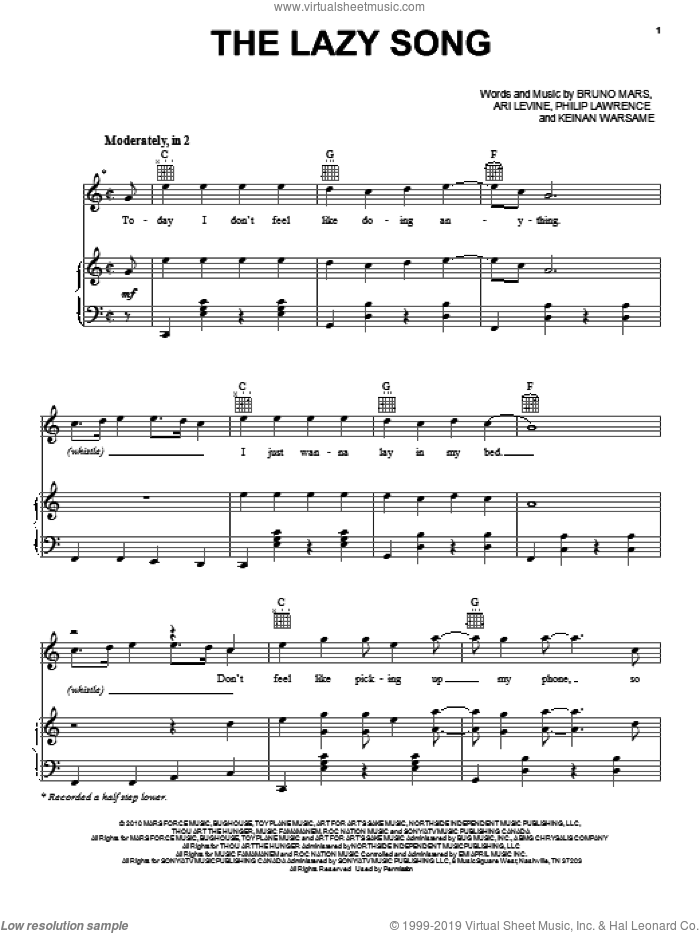 The Lazy Song sheet music for voice, piano or guitar by Bruno Mars, Ari Levine, Keinan Warsame and Philip Lawrence, intermediate skill level
