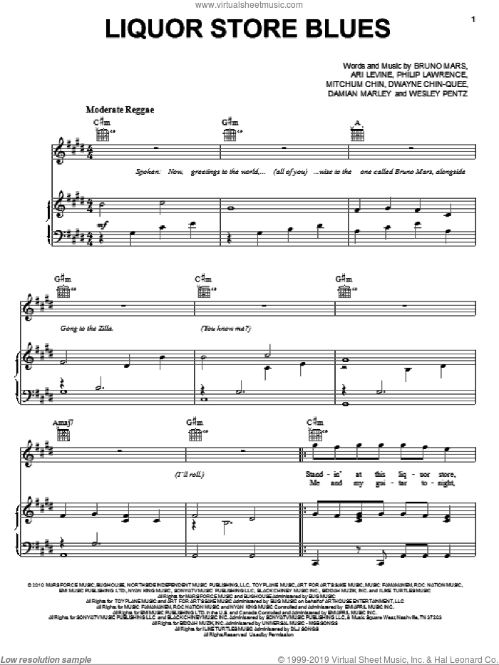 Liquor Store Blues sheet music for voice, piano or guitar by Bruno Mars, Ari Levine, Damian Marley, Dwayne Chin-Quee, Mitchum Chin, Philip Lawrence and Thomas Wesley Pentz, intermediate skill level