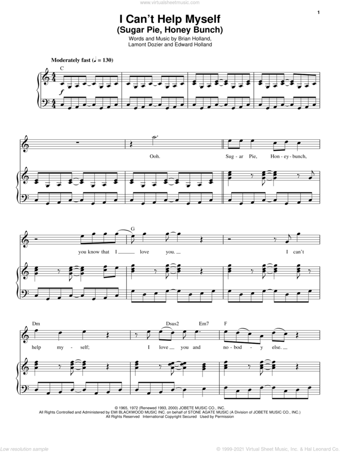 I Can't Help Myself (Sugar Pie, Honey Bunch) sheet music for voice and piano by The Four Tops, Brian Holland, Eddie Holland and Lamont Dozier, intermediate skill level