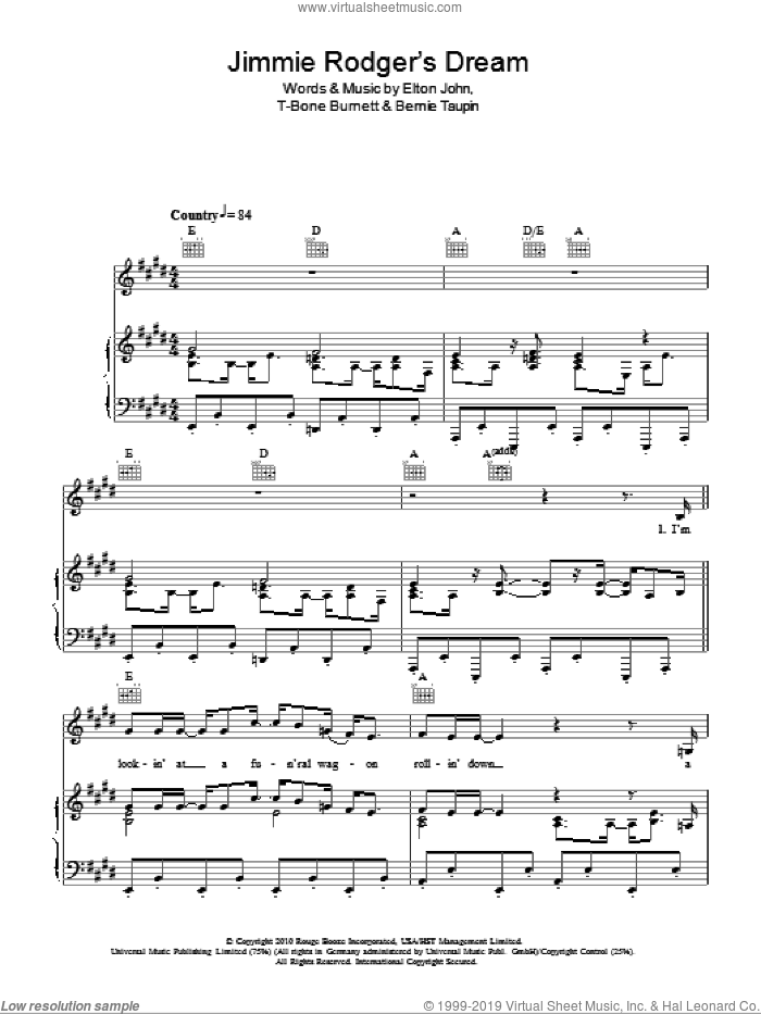 Jimmie Rodgers' Dream sheet music for voice, piano or guitar by Elton John, Leon Russell, Bernie Taupin and T-Bone Burnett, intermediate skill level