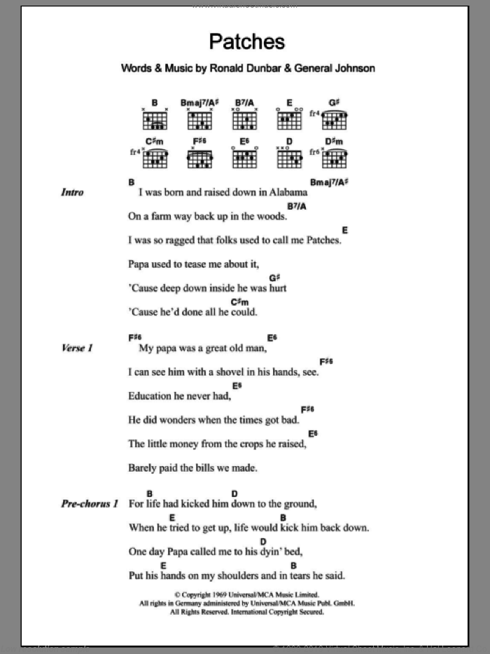 Patches sheet music for guitar (chords) by Clarence Carter, General Johnson and Ronald Dunbar, intermediate skill level