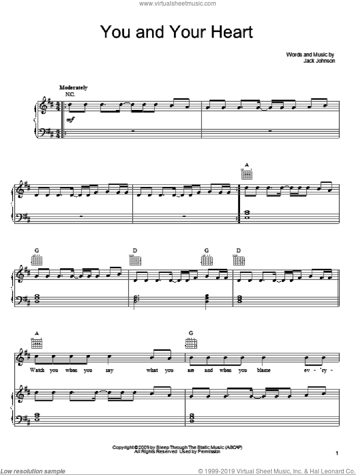 You And Your Heart sheet music for voice, piano or guitar by Jack Johnson, intermediate skill level