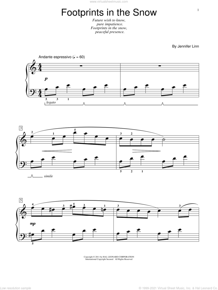 Footprints In The Snow sheet music for piano solo (elementary) by Jennifer Linn, beginner piano (elementary)