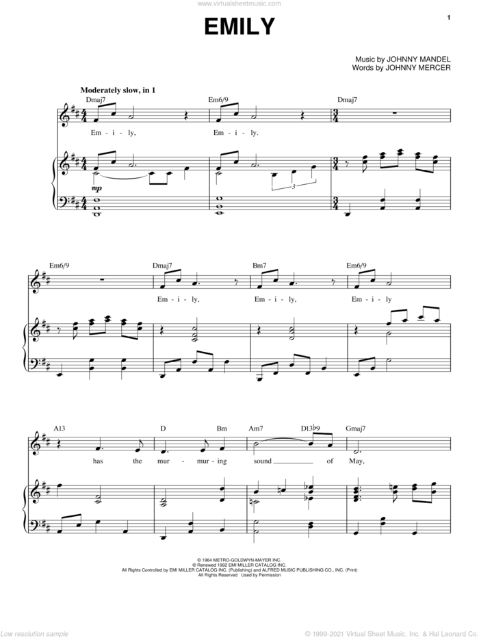Emily sheet music for voice and piano by Andy Williams, Johnny Mandel and Johnny Mercer, intermediate skill level