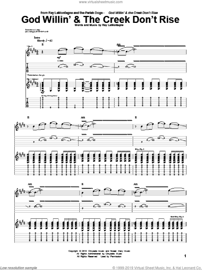 God Willin' and The Creek Don't Rise sheet music for guitar (tablature) by Ray LaMontagne and The Pariah Dogs and Ray LaMontagne, intermediate skill level