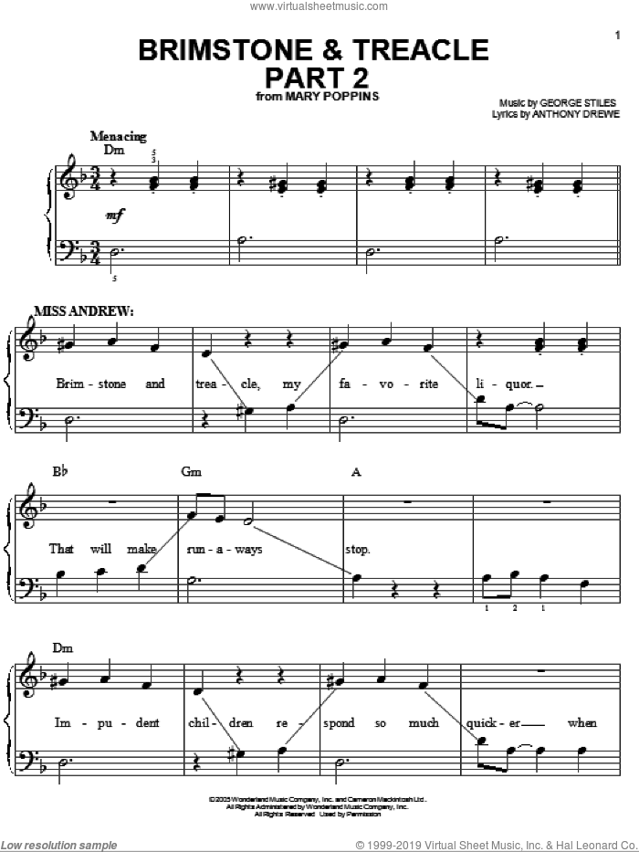 Brimstone and Treacle Part 2 sheet music for piano solo by Anthony Drewe, Mary Poppins (Musical) and George Stiles, easy skill level