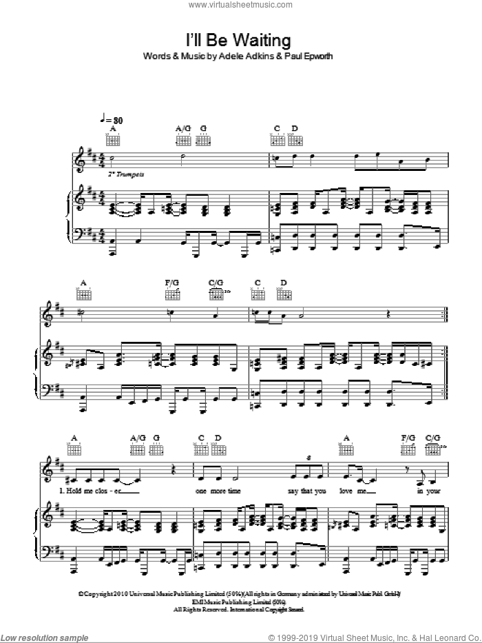I'll Be Waiting sheet music for voice, piano or guitar by Adele, Adele Adkins and Paul Epworth, intermediate skill level
