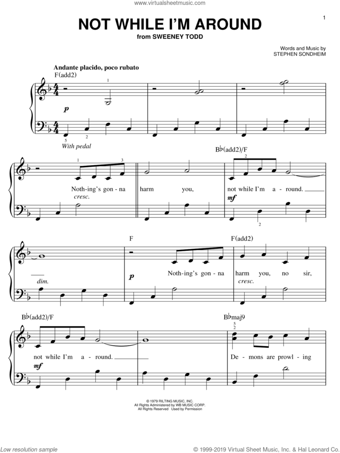 Not While I'm Around sheet music for piano solo by Stephen Sondheim and Sweeney Todd (Musical), easy skill level