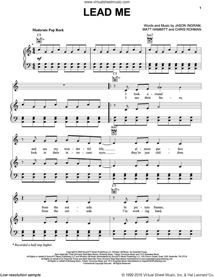 Lead Me sheet music for voice, piano or guitar by Sanctus Real, Chris Rohman, Jason Ingram and Matt Hammitt, intermediate skill level