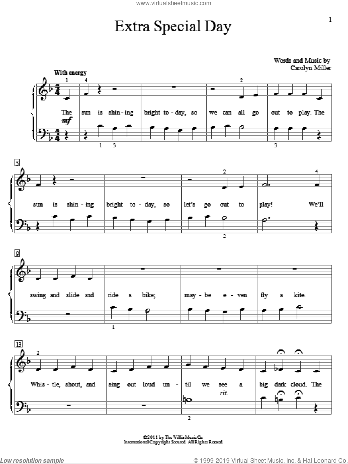 Extra Special Day sheet music for piano solo (elementary) by Carolyn Miller, beginner piano (elementary)